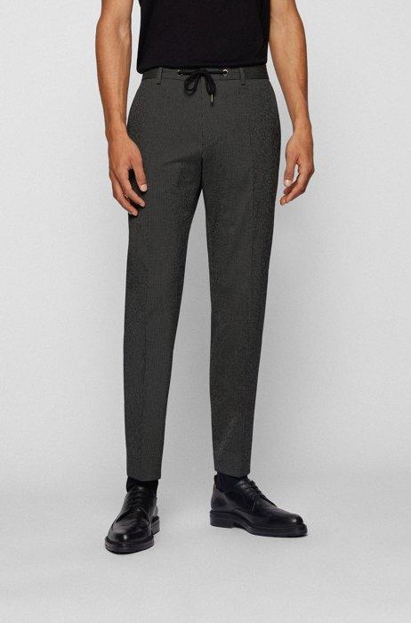 Slim-fit trousers in cotton-blend seersucker, Dark Green
