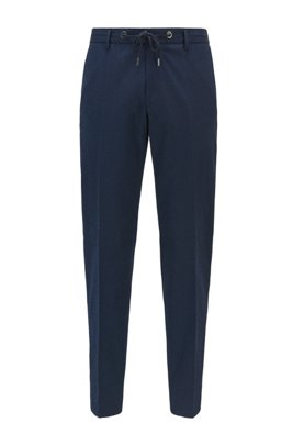 Pantaloni slim fit in misto cotone seersucker, Blu scuro