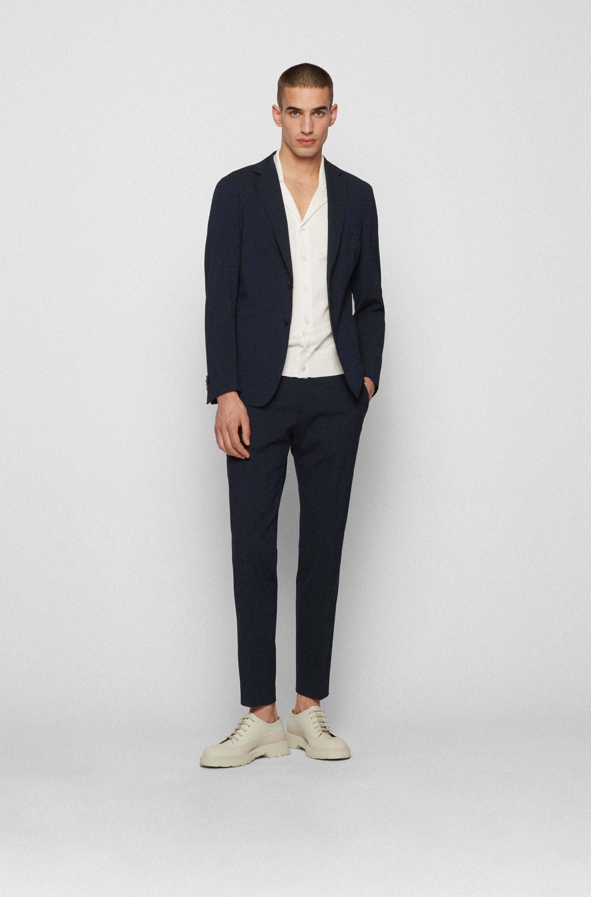Slim-fit trousers in cotton-blend seersucker