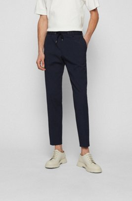 Slim-fit trousers in cotton-blend seersucker, Dark Blue