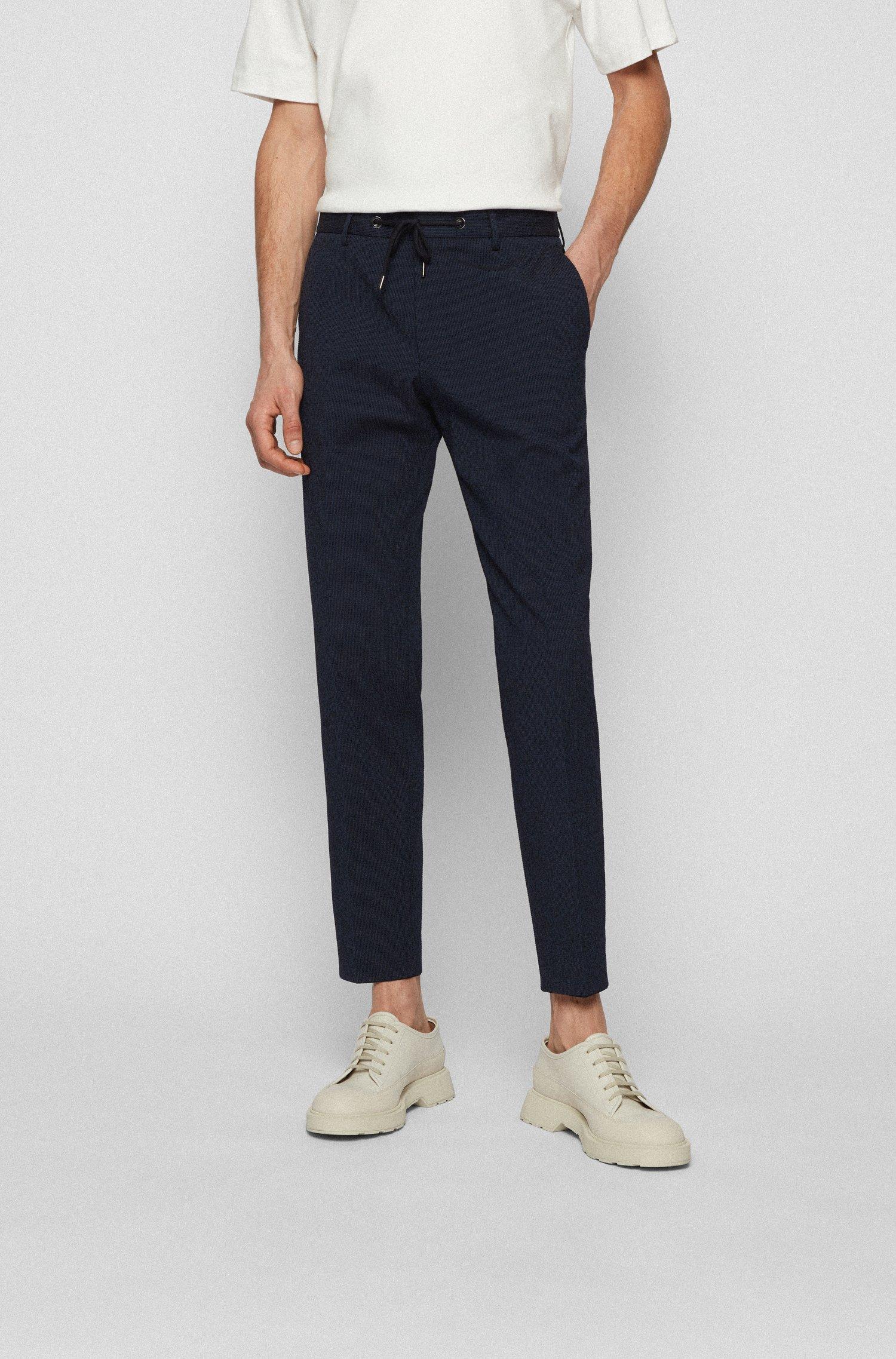 Slim-fit trousers in cotton-blend seersucker, Dark Blue