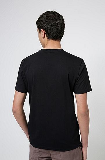 丹顶鹤印花平纹单面棉质 T 恤,  001_Black
