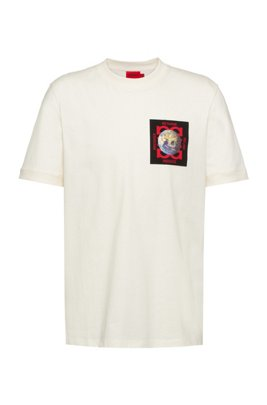 Regular-fit T-shirt in Recot²® cotton with chest artwork, White