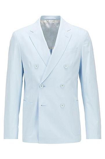 弹力棉双排扣修身夹克,  452_Light/Pastel Blue