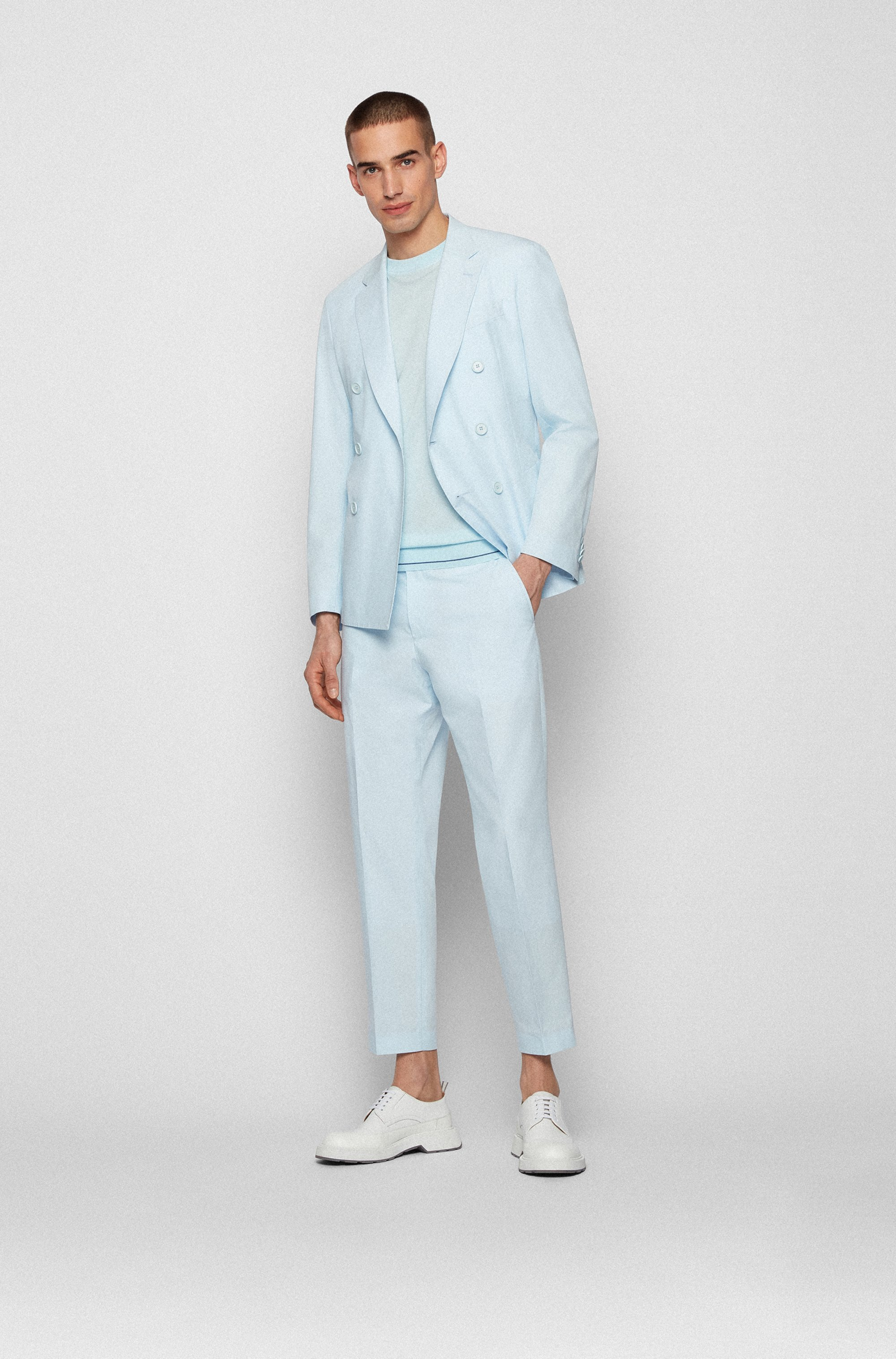 Double-breasted slim-fit jacket in stretch cotton