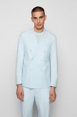 Double-breasted slim-fit jacket in stretch cotton, Light Blue