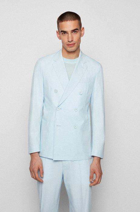Veste croisée Slim Fit en coton stretch, bleu clair