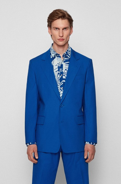Relaxed-fit jacket in stretch cotton with patterned interior, Blue