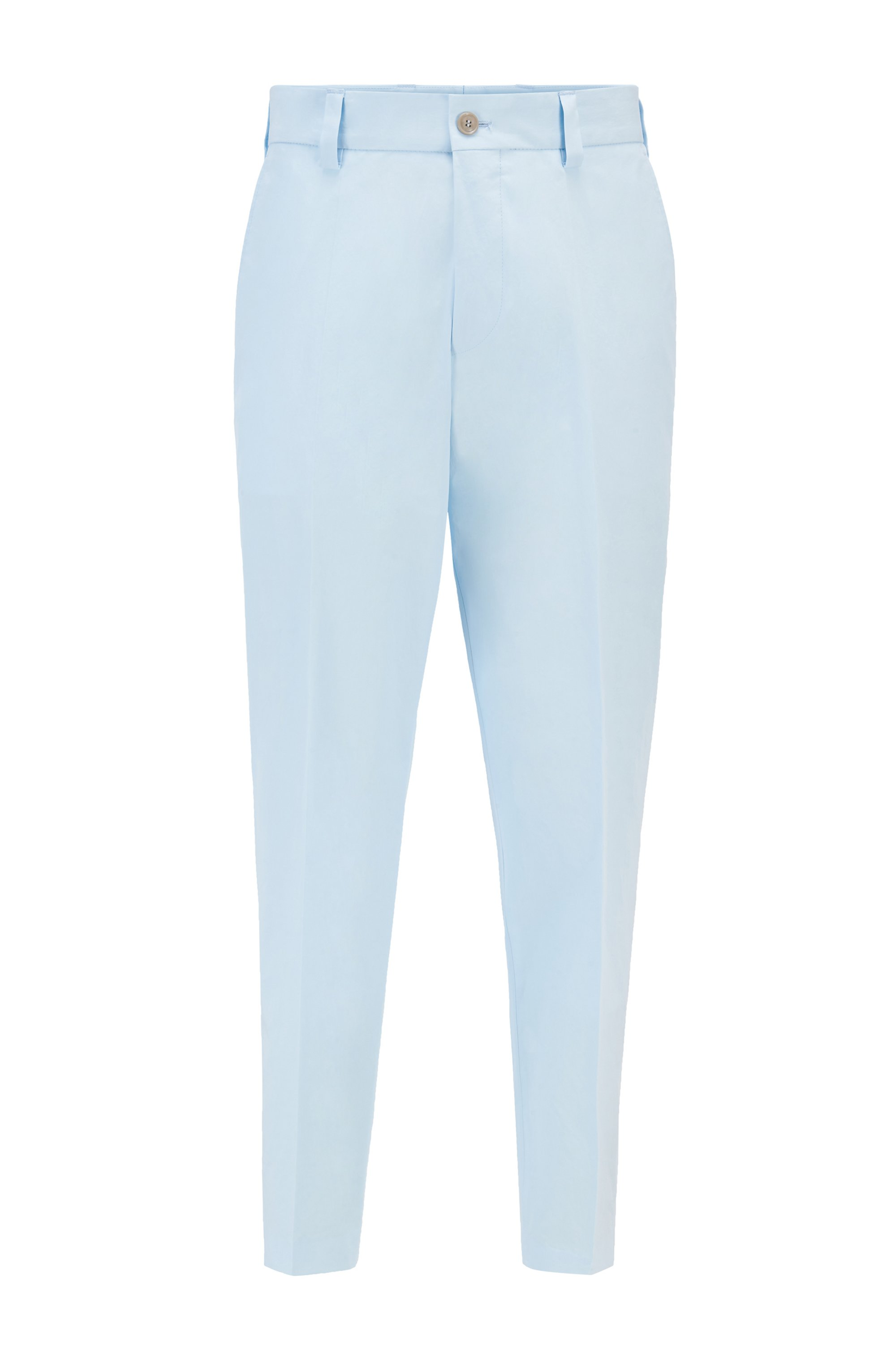 Relaxed-Fit Hose aus Stretch-Baumwolle in Cropped-Länge, Hellblau