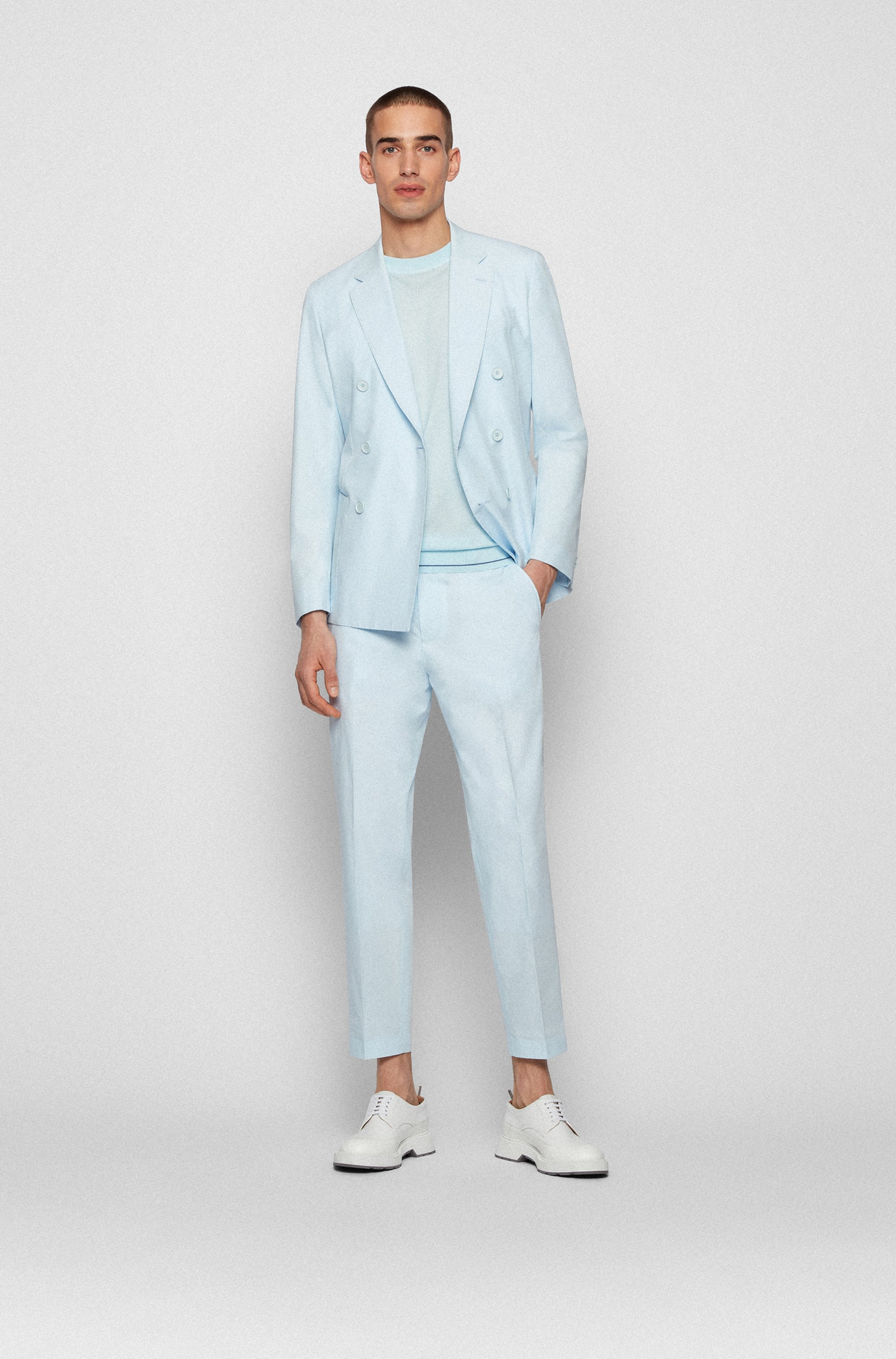 Relaxed-fit cropped trousers in stretch cotton