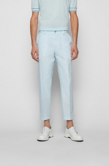 Relaxed-fit cropped trousers in stretch cotton, Light Blue