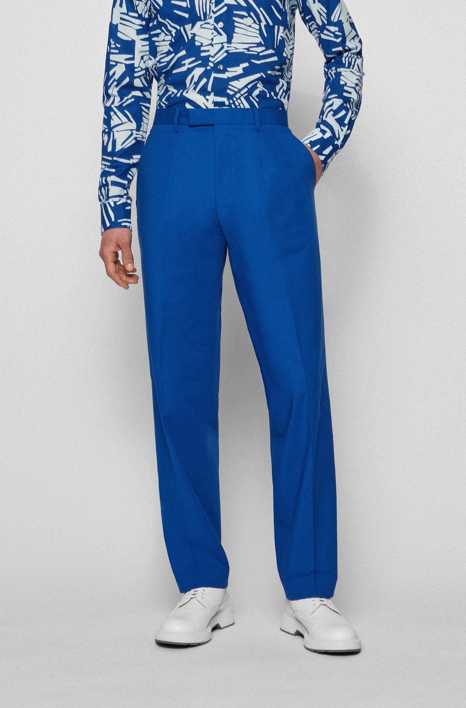 Relaxed-fit trousers in stretch cotton, Blue