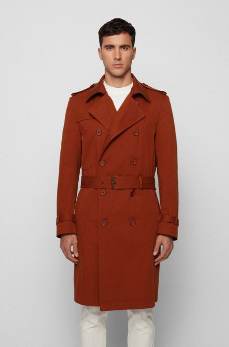 Double-breasted trench coat in organic cotton, Brown