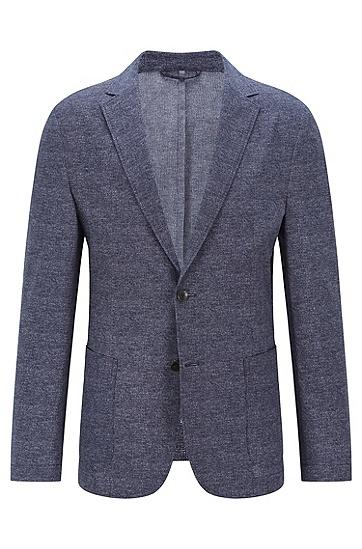 微图案平纹针织修身夹克,  402_Dark Blue