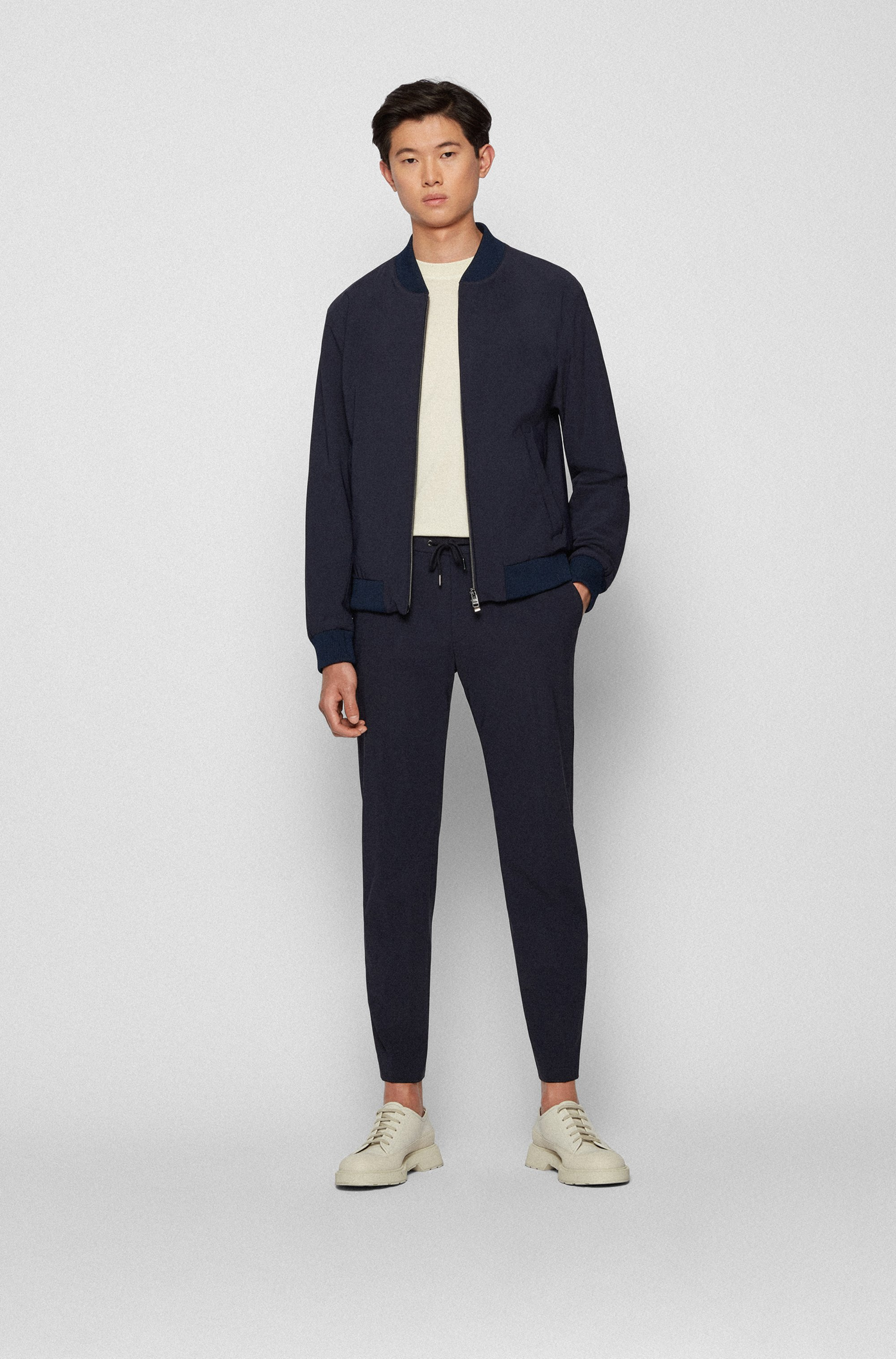 Slim-fit trousers in stretch cotton with comfort waistband