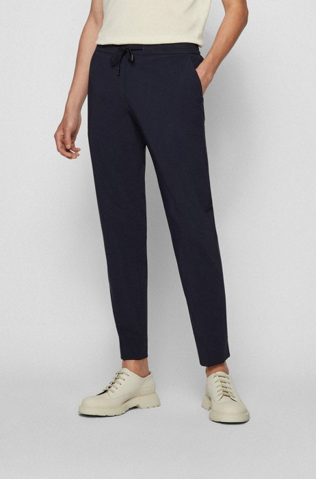 Slim-fit trousers in stretch cotton with comfort waistband, Dark Blue