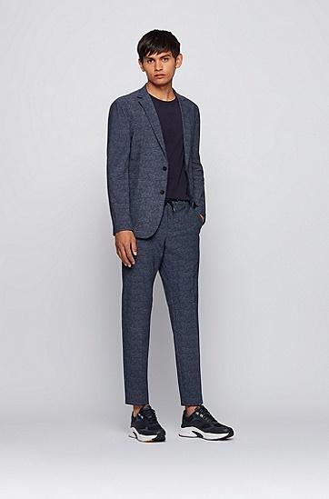 微图案平纹针织面料修身长裤,  402_Dark Blue
