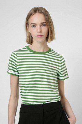 Gestreiftes Slim-Fit T-Shirt aus Bio-Baumwoll-Jersey, Grün