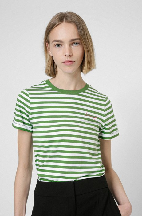 Striped slim-fit T-shirt in organic-cotton jersey, Green