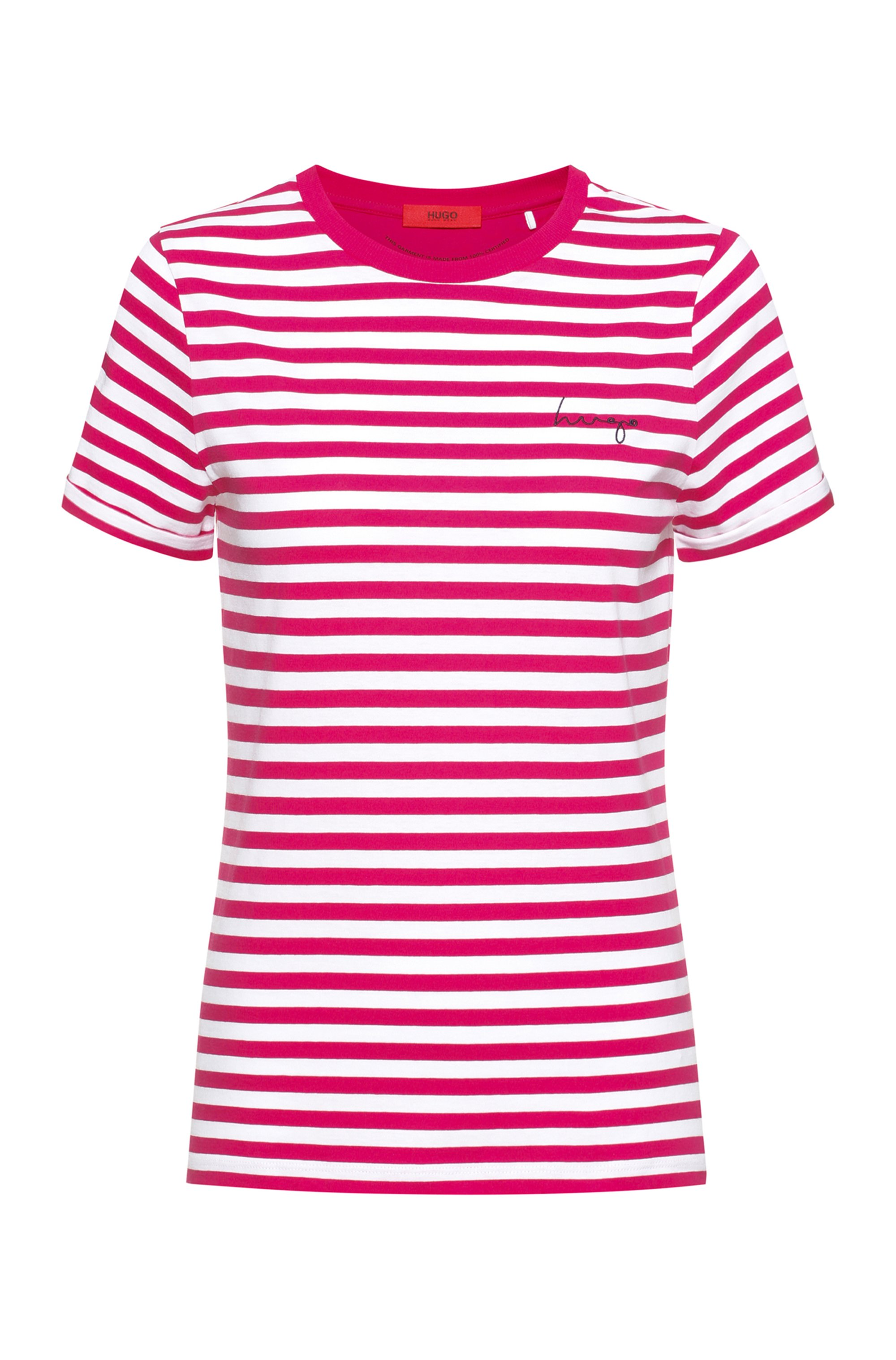 Gestreiftes Slim-Fit T-Shirt aus Bio-Baumwoll-Jersey, Rosa gemustert