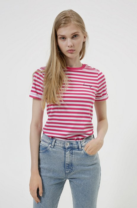 Striped slim-fit T-shirt in organic-cotton jersey, Pink Patterned