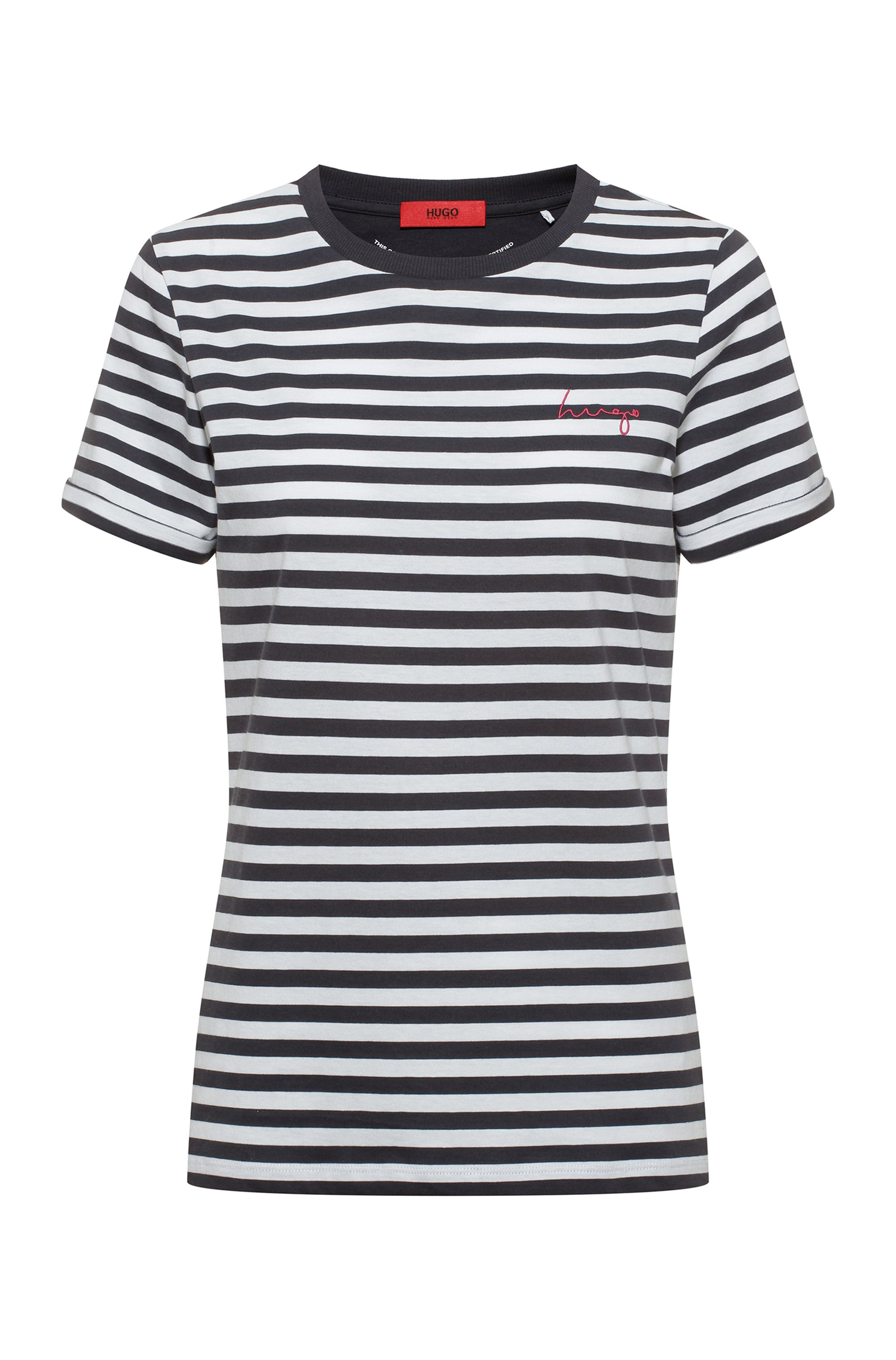 Striped slim-fit T-shirt in organic-cotton jersey, Patterned