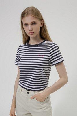Gestreiftes Slim-Fit T-Shirt aus Bio-Baumwoll-Jersey, Gemustert