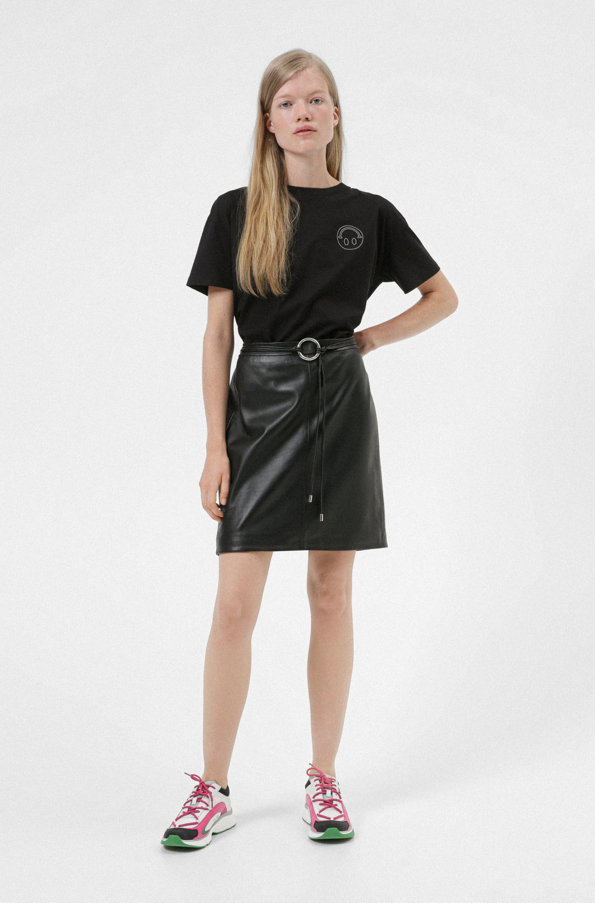Leather pencil skirt with new-season hardware trim