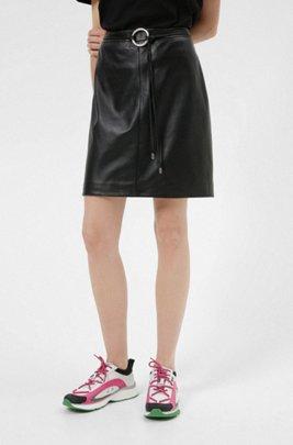 Leather pencil skirt with new-season hardware trim, Black