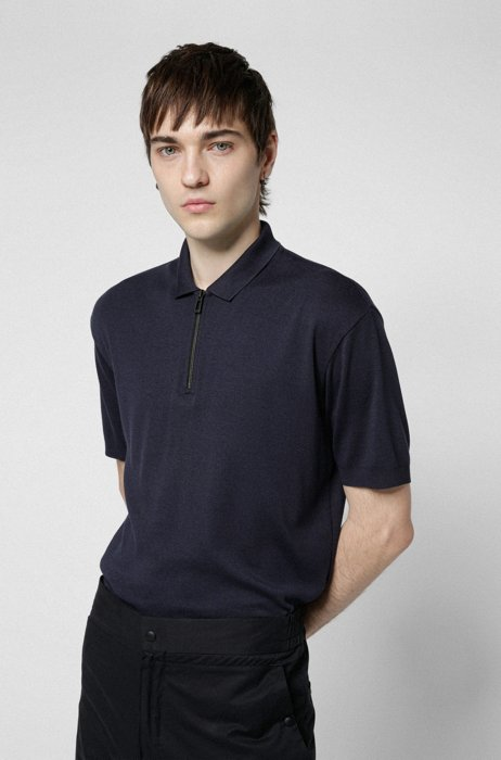 Zip-neck polo shirt in double-ribbed fabric, Dark Blue