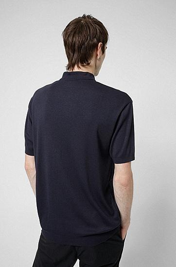 拉链衣领双面罗纹面料 Polo 衫,  405_Dark Blue