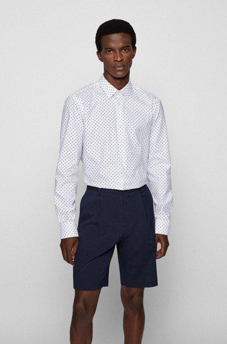 Regular-fit shirt in geometric-print organic cotton, White