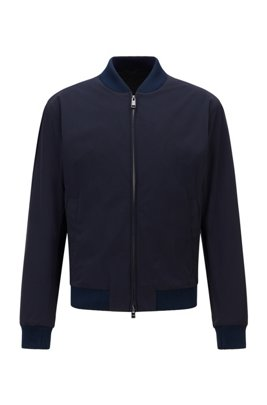 Slim-fit jacket in stretch cloth with front zip, Dark Blue