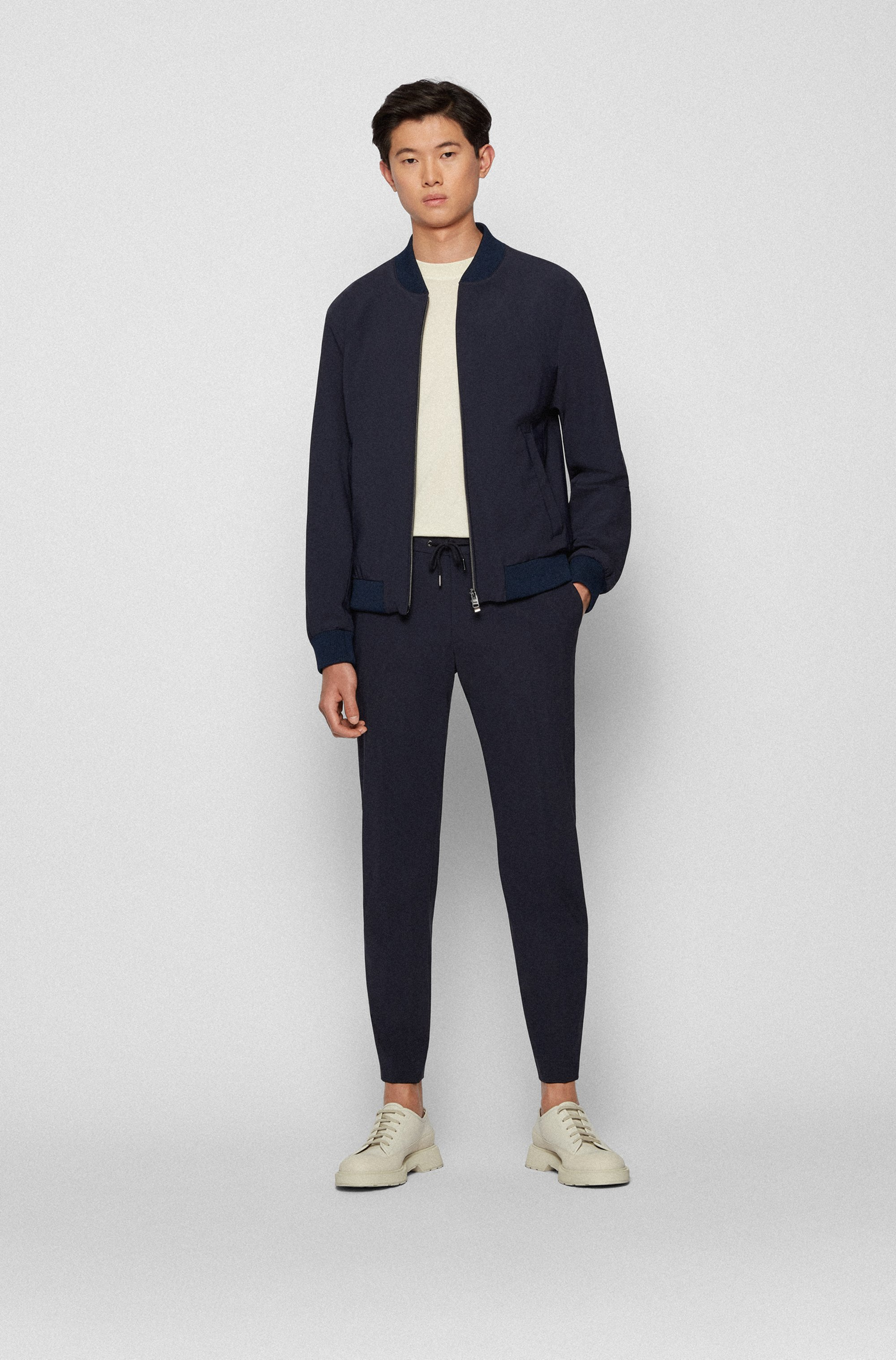 Slim-fit jacket in stretch cloth with front zip