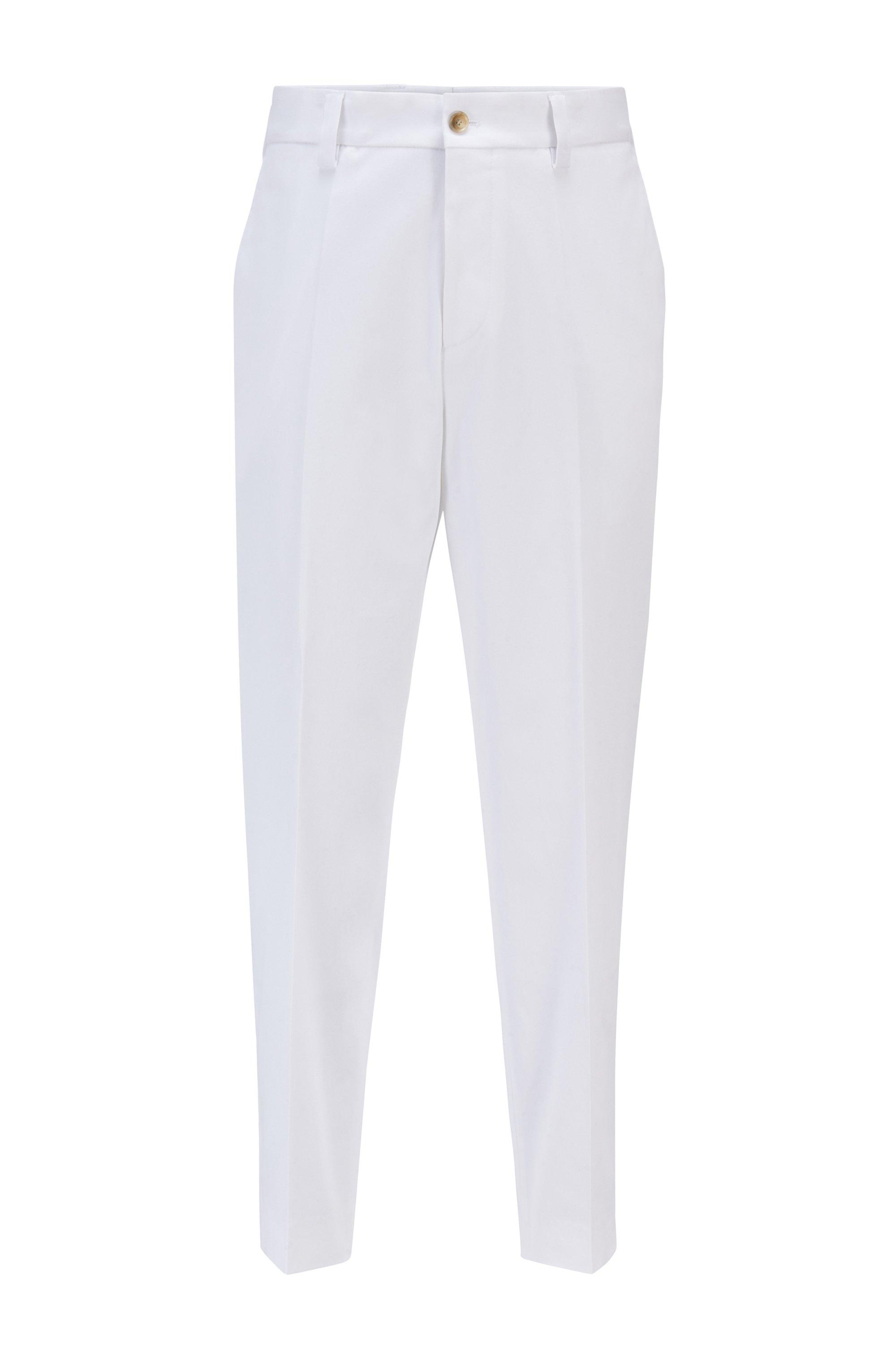 Relaxed-Fit Hose in Cropped-Länge aus elastischem Material-Mix, Weiß