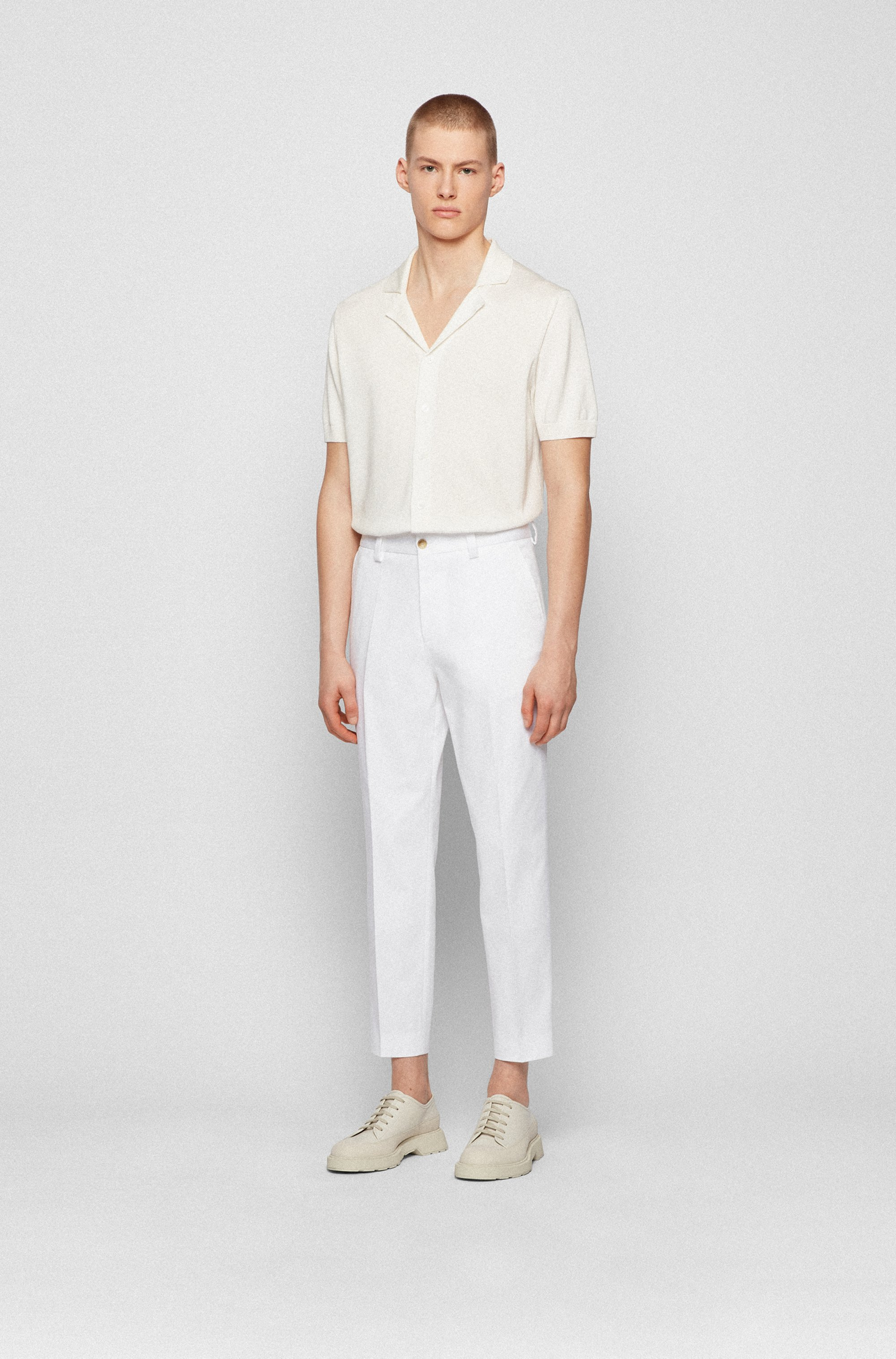 Relaxed-fit cropped trousers in stretch fabric