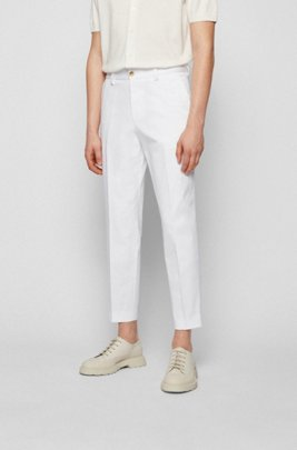 Relaxed-fit cropped trousers in stretch fabric, White
