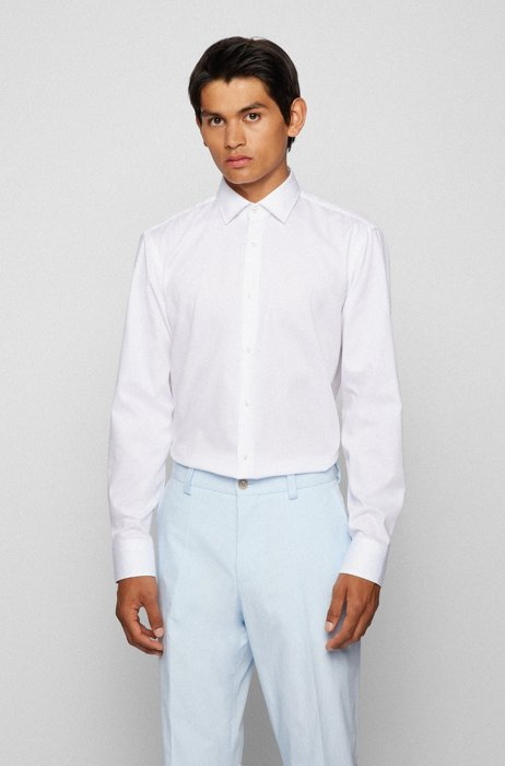 Regular-fit shirt in easy-iron cotton dobby, White