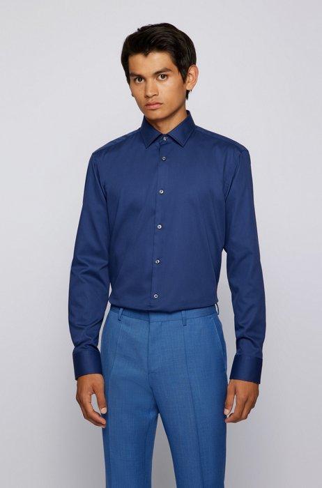 Camicia regular fit in cotone dobby facile da stirare, Blu scuro