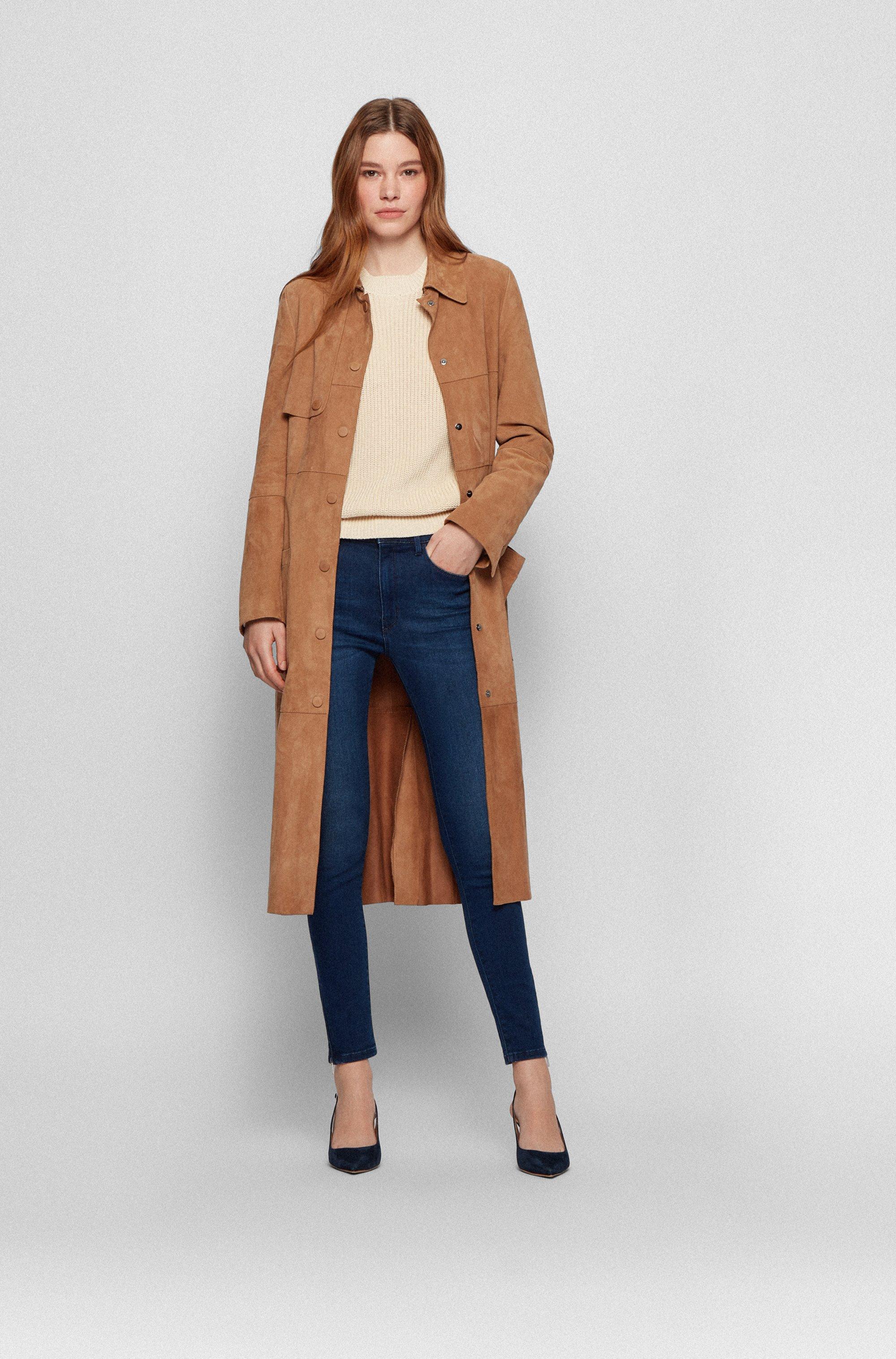 Skinny-fit jeans in stretch denim with zipped hems