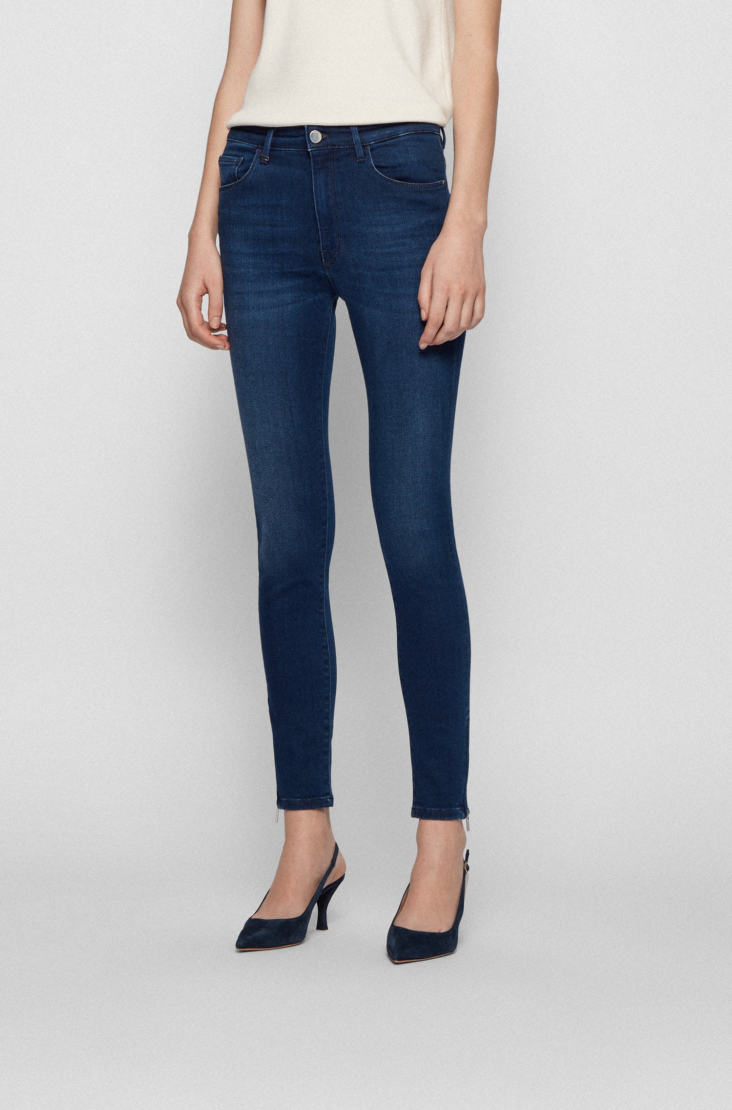 Skinny-fit jeans in stretch denim with zipped hems, Blue