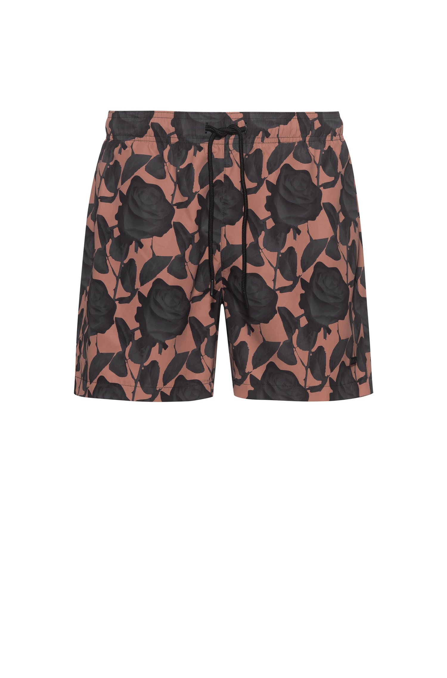 Quick-dry swim shorts in patterned recycled fabric, Light Brown