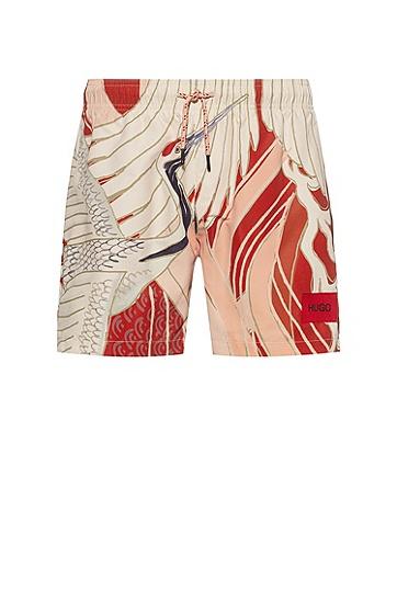图案装饰速干游泳短裤,  Open Red