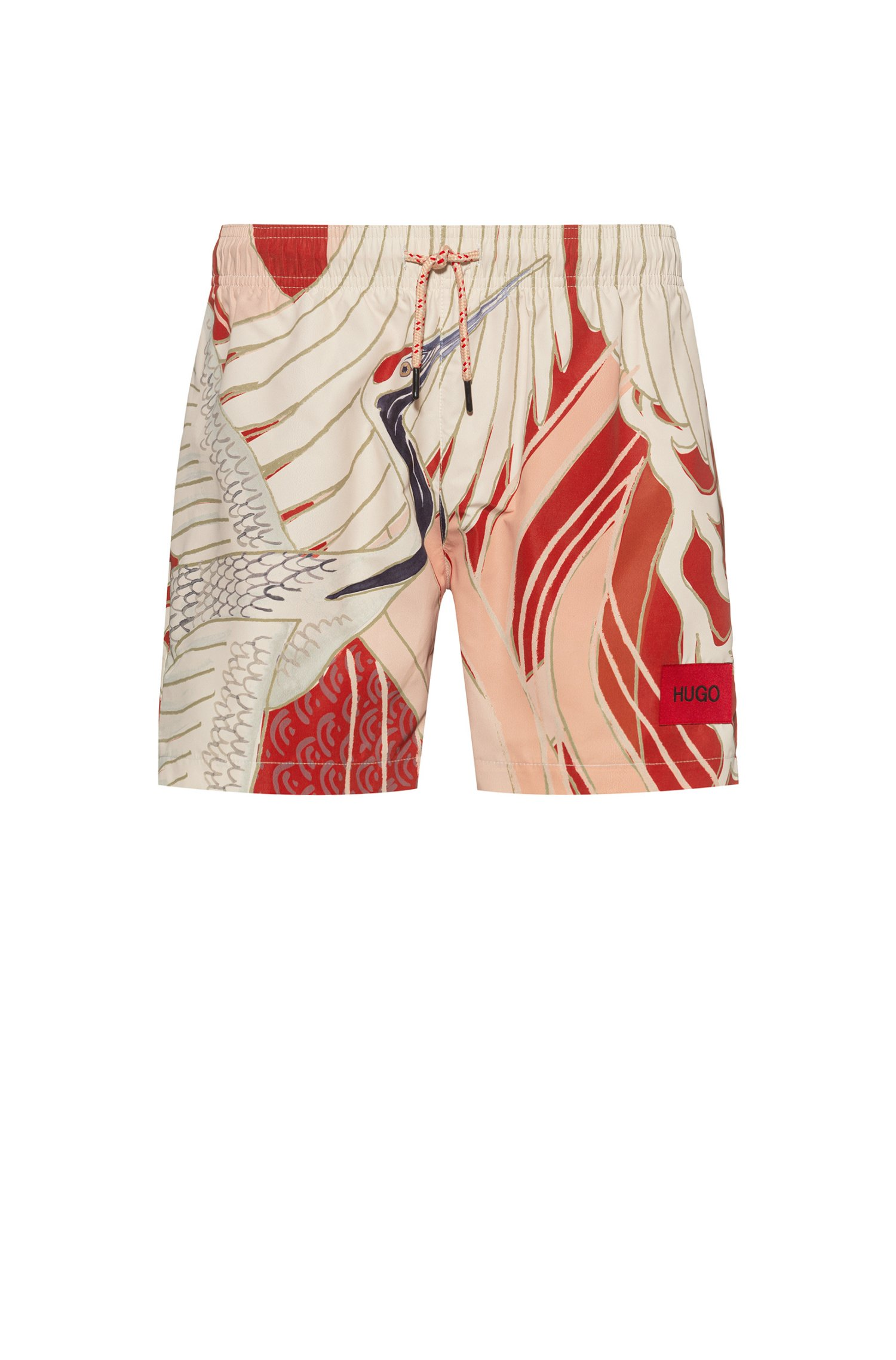 Quick-dry swim shorts in patterned recycled fabric, Red Patterned