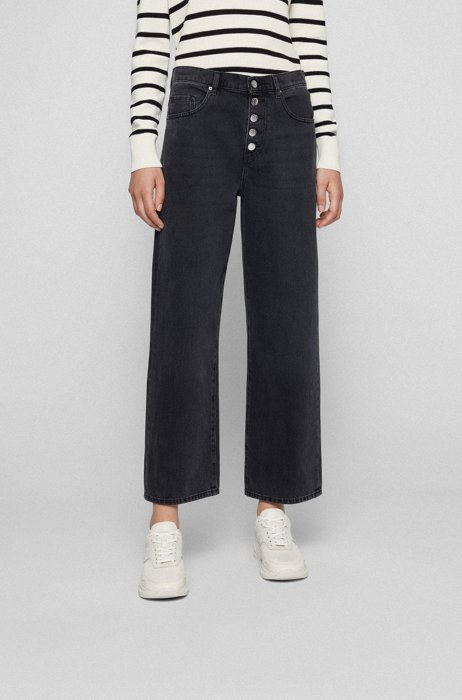 Regular-fit cropped jeans in dark-grey denim, Dark Grey