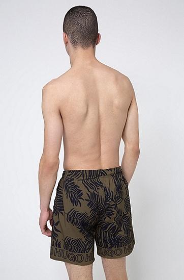 通体印花装饰再生面料游泳短裤,  355_Open Green