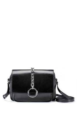 Glossy-leather saddle bag with polished-metal chain trim, Black