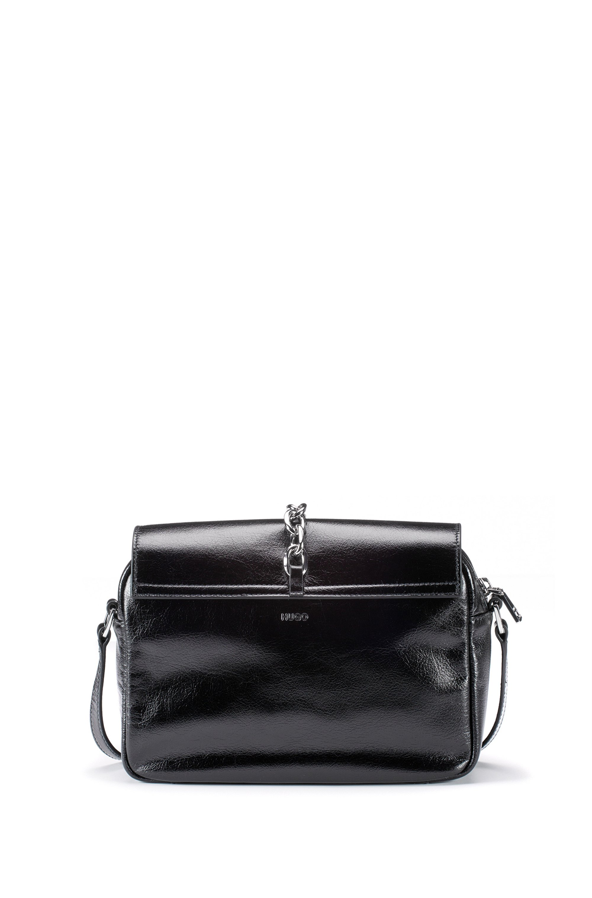 Glossy-leather saddle bag with polished-metal chain trim