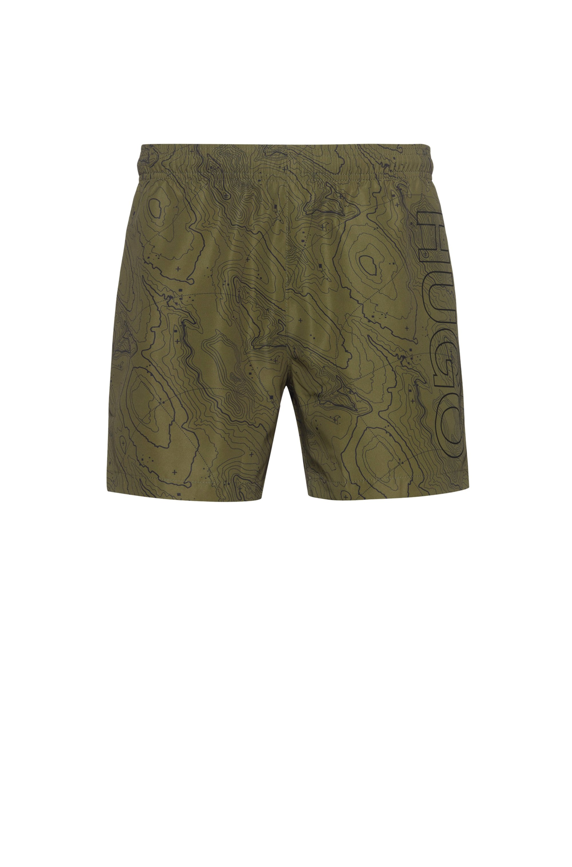 Quick-dry swim shorts in printed recycled fabric, Dark Green