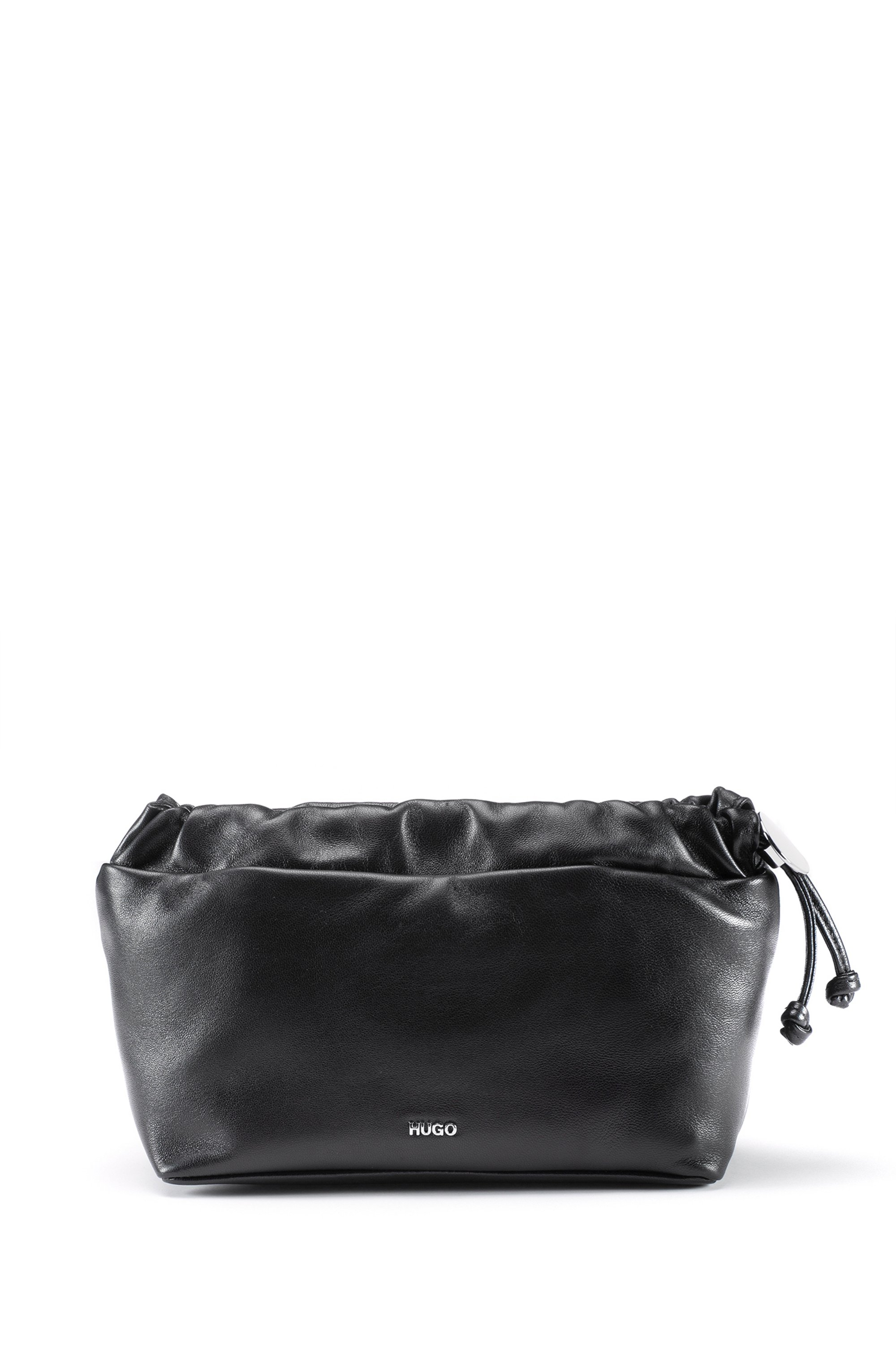 Cross-body bag in nappa leather with drawstring closure, Black